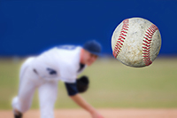 Baseball Pitcher Throwing ball, selective focus